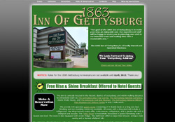 Screenshot of the 1863 Inn Of Gettysburg website