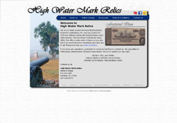 Screenshot for High Water Mark Relics Website