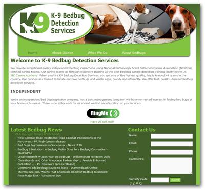 K9-Bedbug-Detection-Services-website-designed-by-Wide-Open-Communications