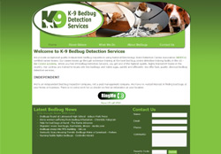 Screenshot for the website of K9 Bedbug Detection Services in NY