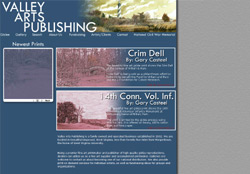 Screenshot of the website for Valley Arts Publishing