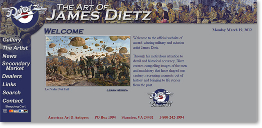 Old JamesDietz.com Website Design